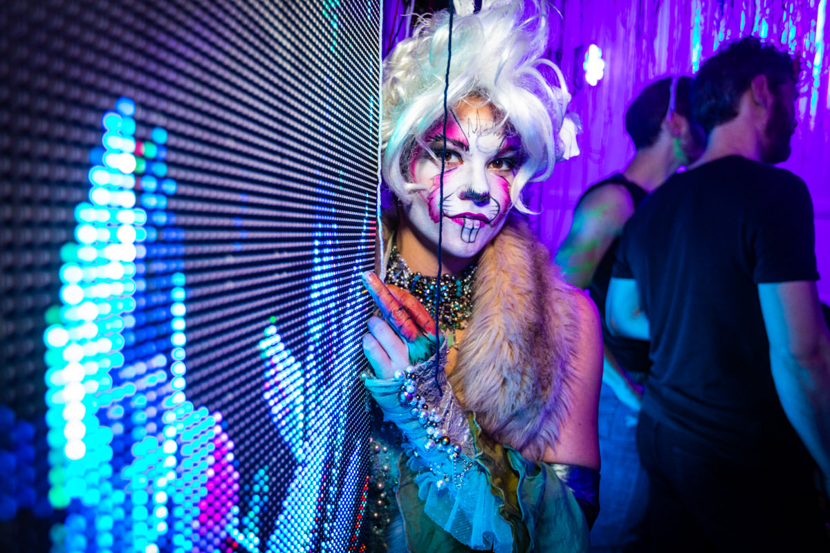 woman in bunny costume at immersive party in brixton