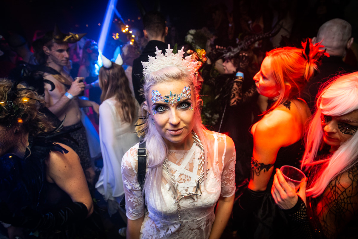 woman at fox and badge party dressed as vampire