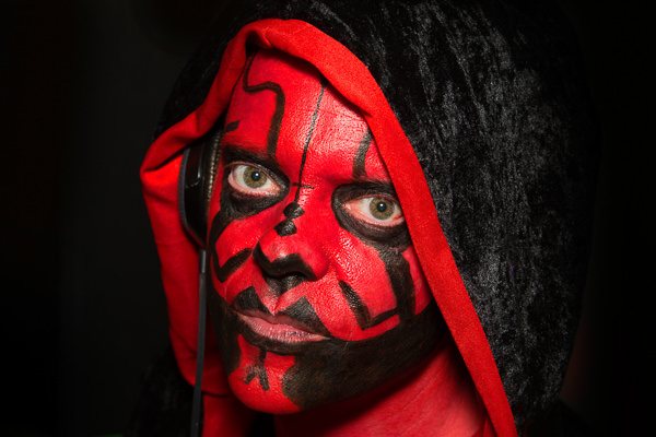 man dressed as darth maul at london party