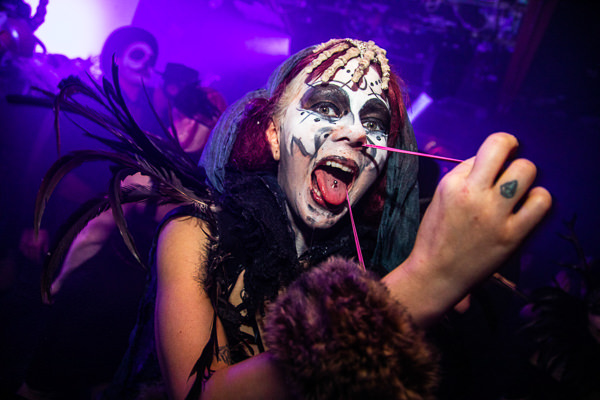 woman with rubber bogey at party in london