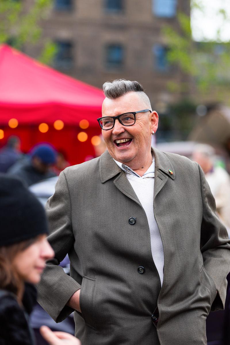 cockney laughing at vintage car boot sale london kings cross