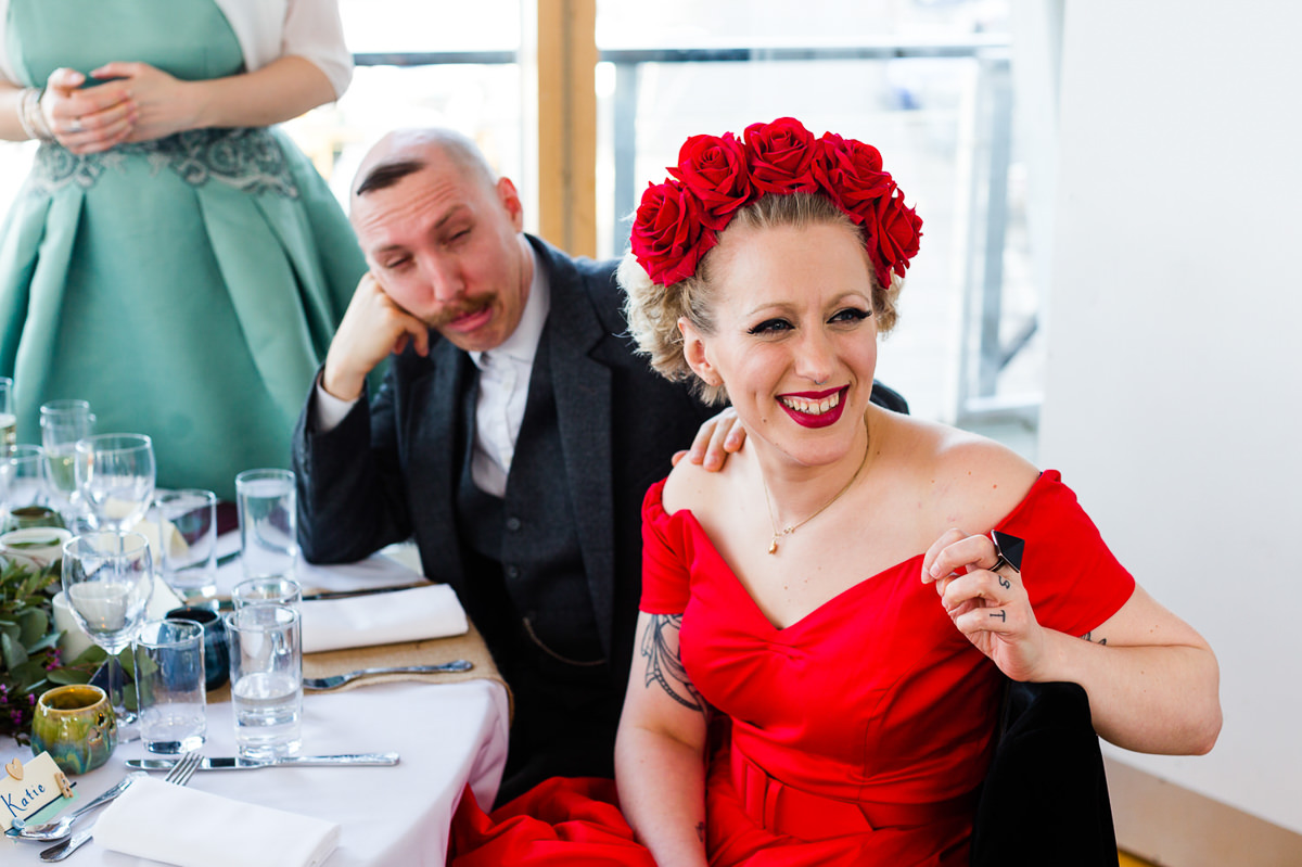 vintage woman in red wedding greenwich
