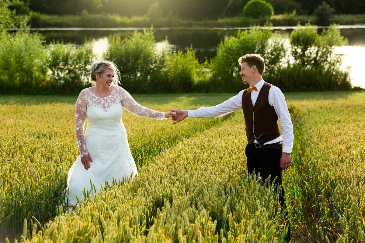 wedding couple wheat fields