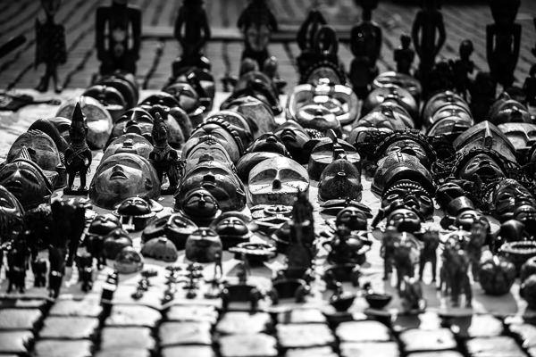 african masks brussels flea market